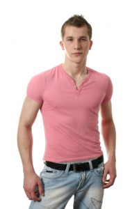 Sexy Man in Pink Shirt